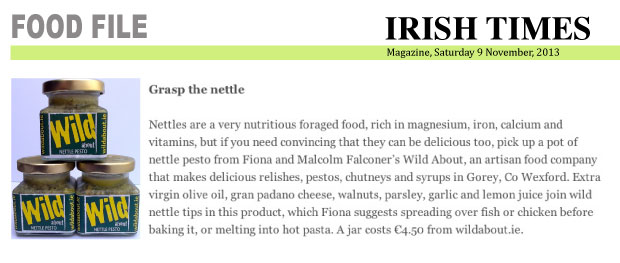 Irish Times Magazine article featuring Nettle Pesto, 9 November, 2013