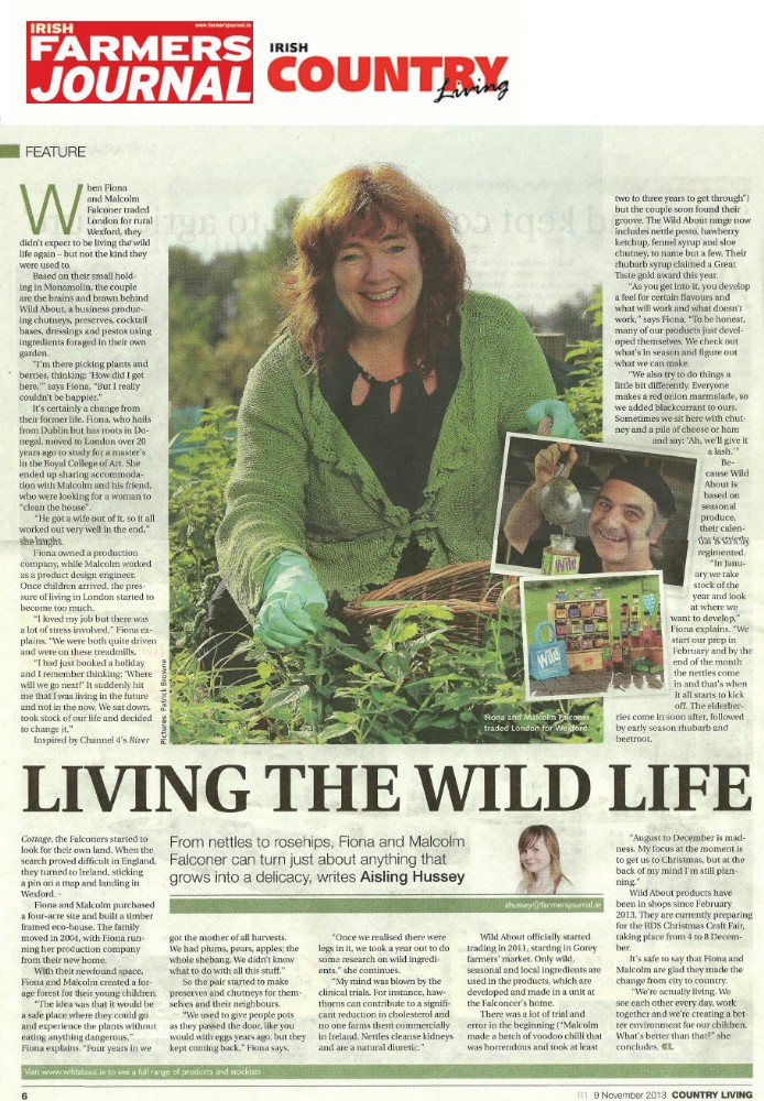 Farmers Journal Country Living Magazine article, Living the Wild Life, 9 November, 2013