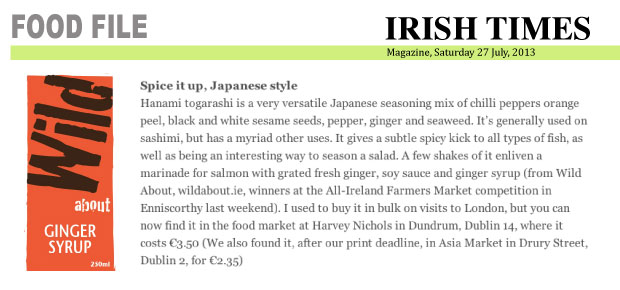 Irish Times Magazine article featuring Ginger Syrup, 27 July, 2013