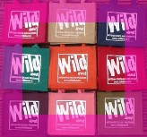 Wild about gift bags in assorted colours with fuschia border image