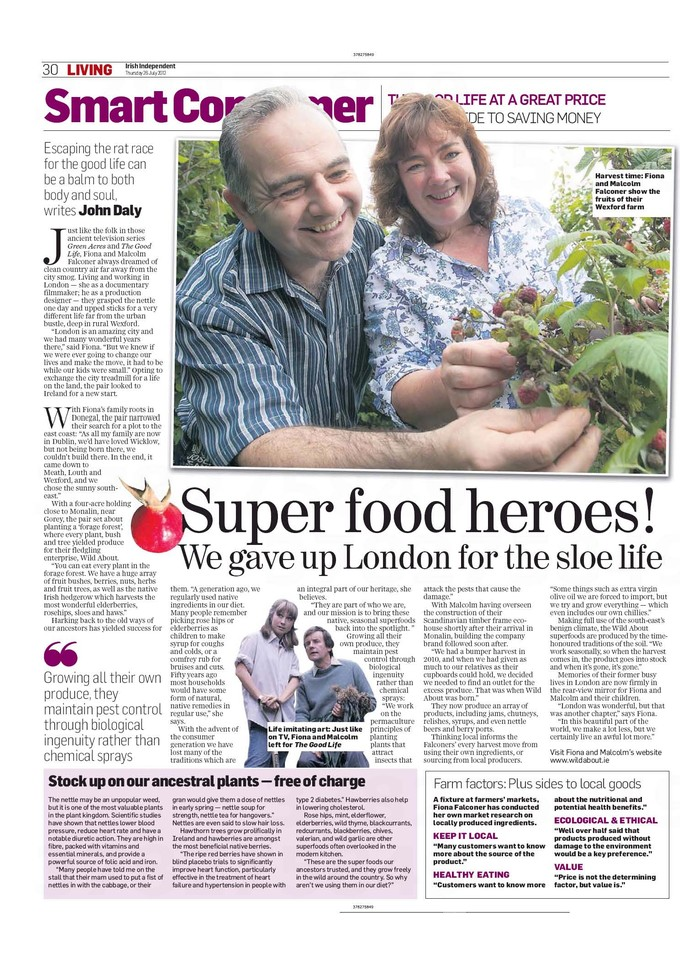 Irish Independent Super Food Heroes article 26 July, 2012